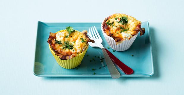 Frühstück: Bacon und Eggs vom Muffinblech