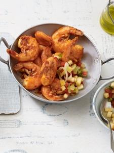 Low Carb: Garnelen mit Apfel-Paprika-Salsa