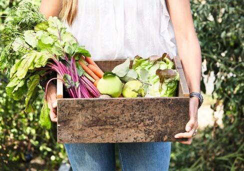 Frau trägt Kiste mit Biogemüse