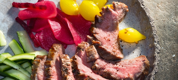 Fleisch-Rezept für Gourmets: Flank Steak mit eingelegtem Gemüse
