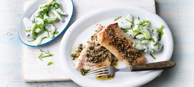 Fisch mit Kürbiskernmantel