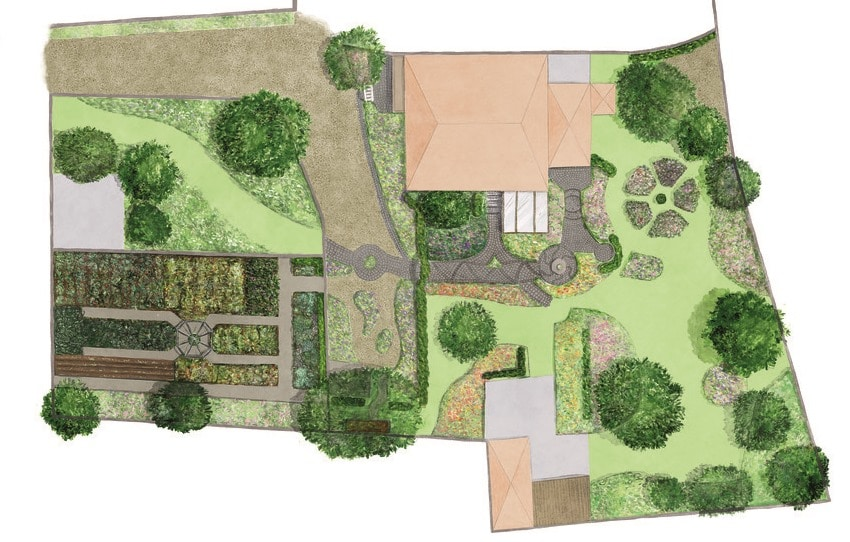 Gartenplan Illustration Grundriss