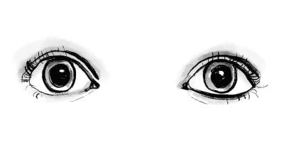 Augen mit grossen Pupillen